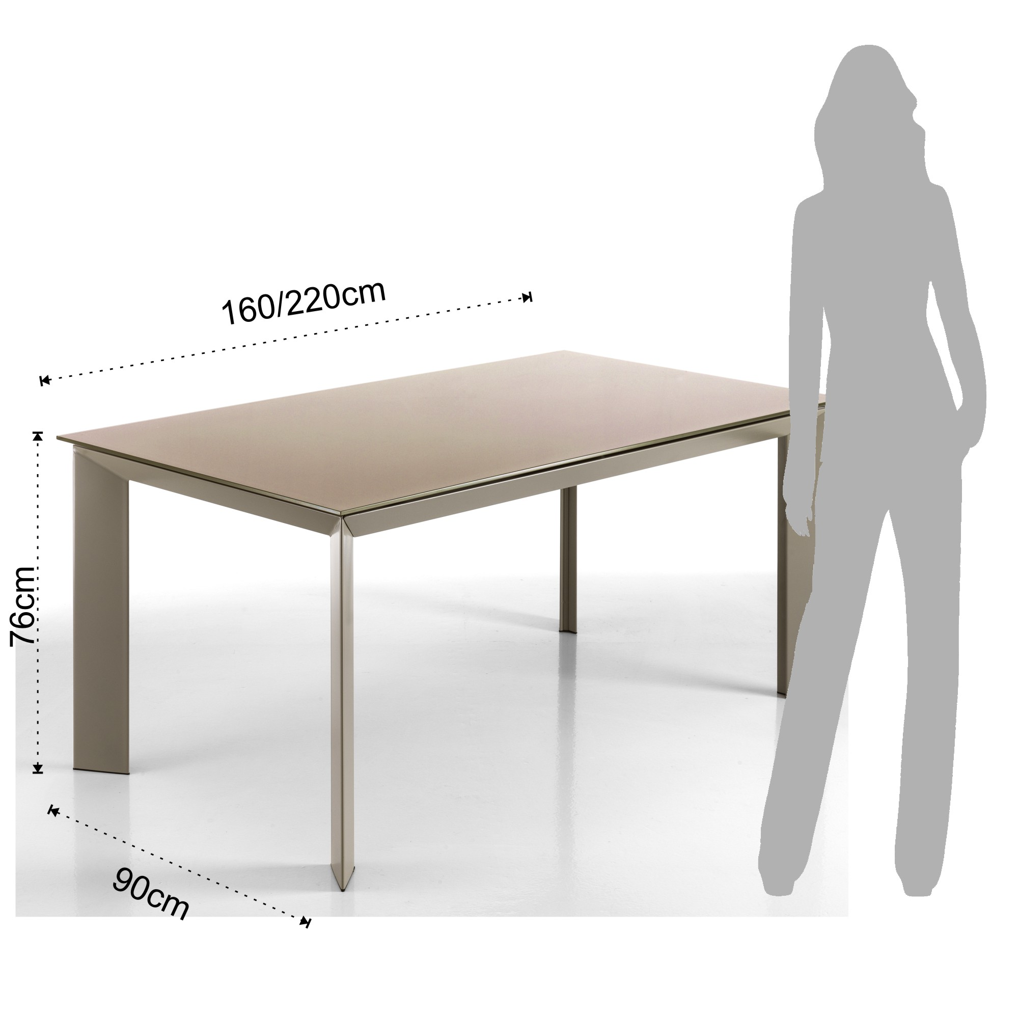 Blade Extensible Table 160 Taupe ShoesRectangular sCtrdhQ