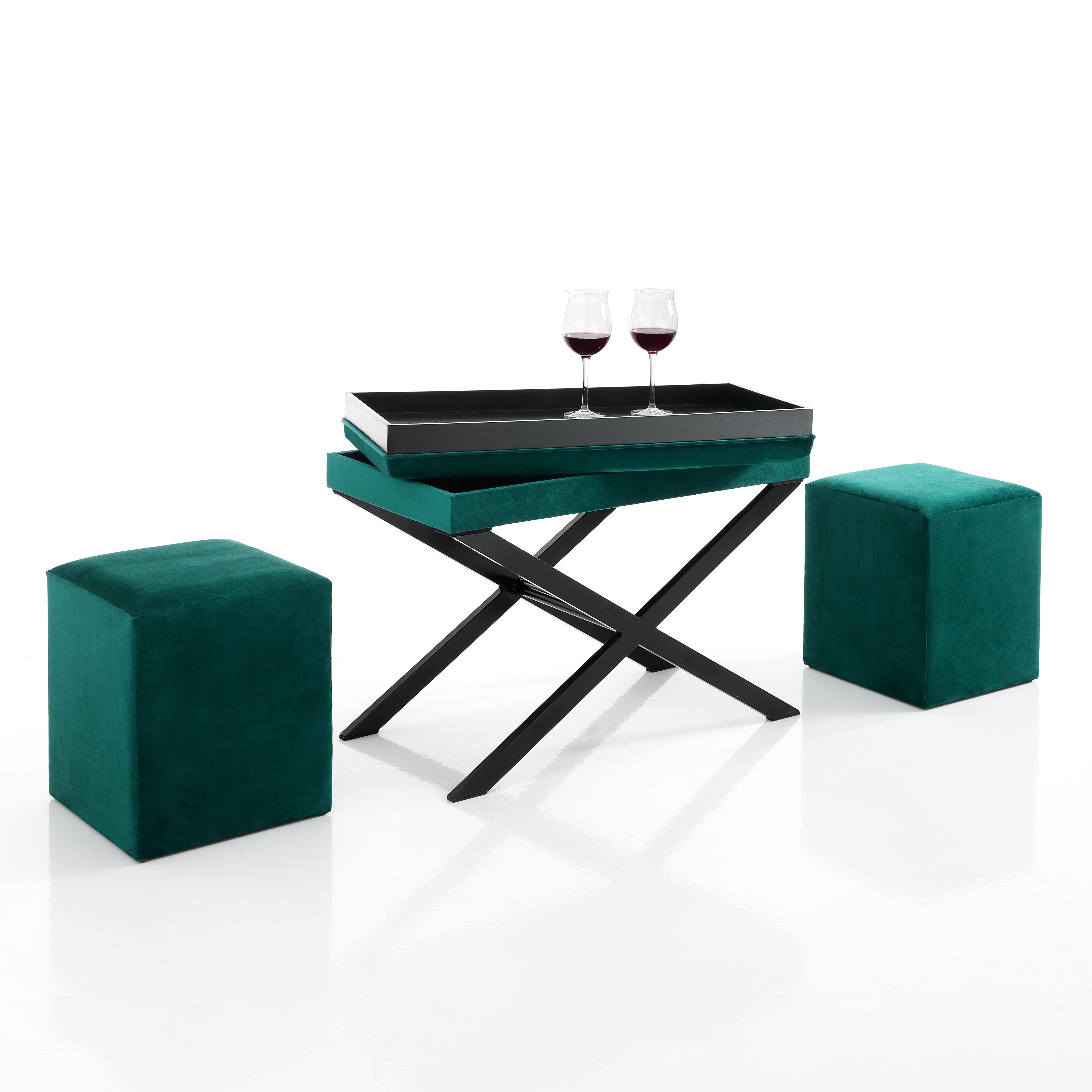 Tavolini : panca / tavolino con 2 pouf KOMODO VERDE PETROLIO