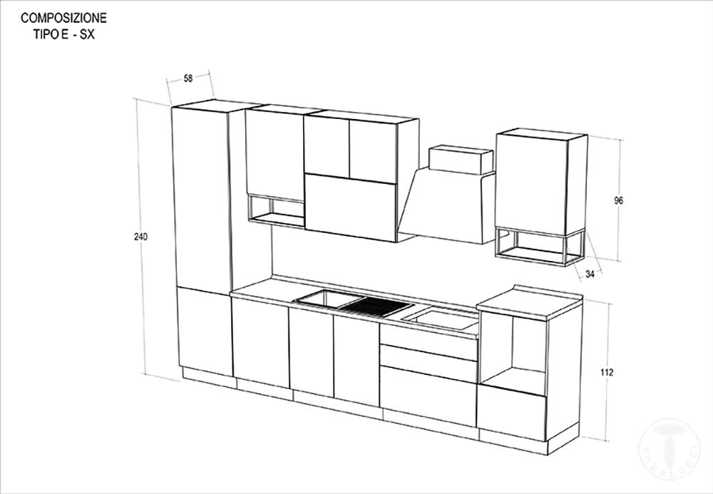 Composizione E : Cucina modello ROMY