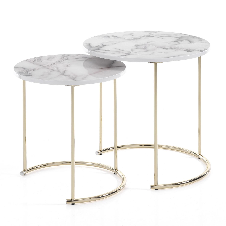 Set 2 tavolini THIN-R WHITE MARBLE