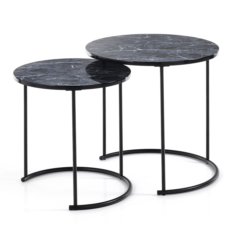 Set 2 tavolini THIN-R BLACK MARBLE