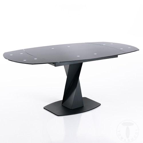 Tavolo allungabile long di tomasucci in metallo con allunghe in vetro ed in legno disponibile in tre diverse finiture